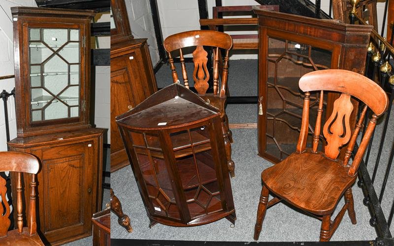 Four various corner cupboards and three country chairs (7)