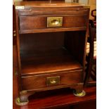 A small mahogany cabinet, with campaign handles and two drawers 46cm by 41cm 64cm