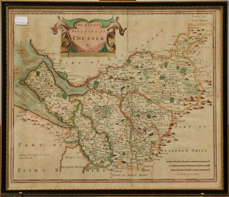 Three Robert Morden maps, to include Derbyshire, The County of Chester, and Yorkshire (3)
