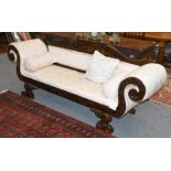 A modern carved mahogany scroll arm sofa in William IV style gadrooned, with foliate scrolls and
