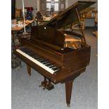 An early 20th century mahogany cased boudoir grand piano makers CH Allan, London raised on square