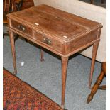A 19th century oak two-drawer side table raised plain turned supports terminating on pad feet,