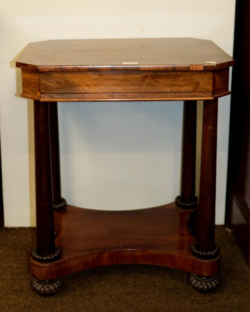 William IV rosewood work table of cantered rectangular form on turned supports (a.f.) 59cm by 45cm