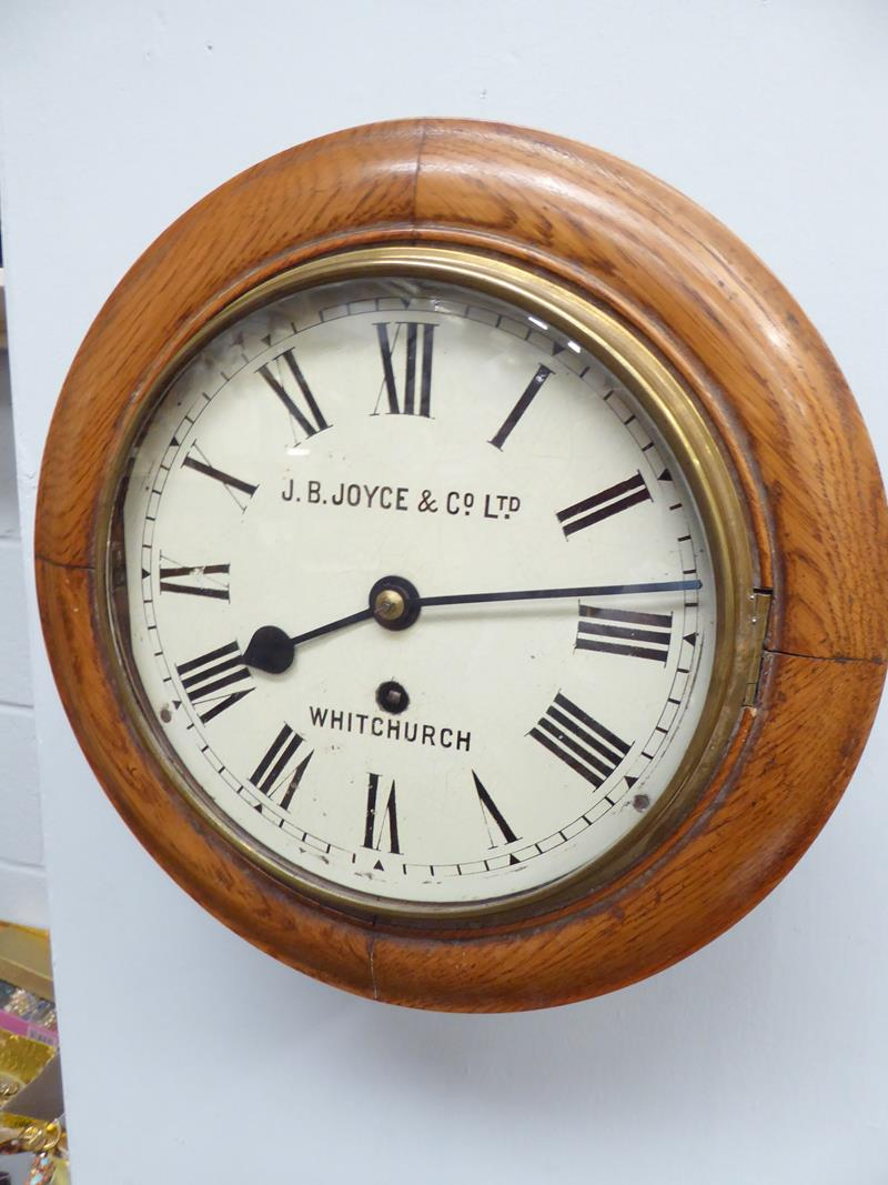 A 20th century oak cased wall timepiece, 8'' painted dial bearing later inscription J.B.Joyce & Co - Image 2 of 8