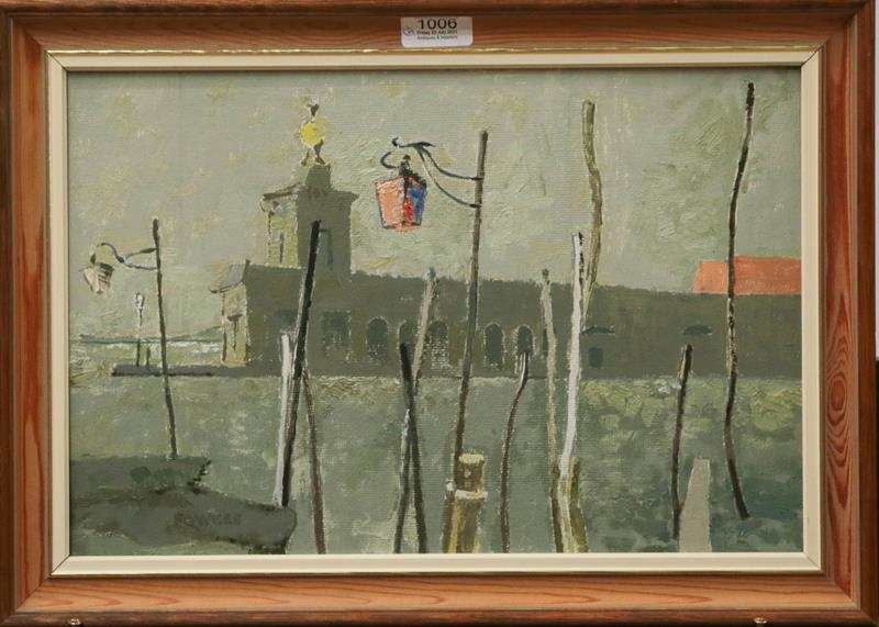 David Reeve Fowkes (20th century) By Harry's Bar, The Dogana, signed oil on board, dated 1987 on - Image 2 of 2