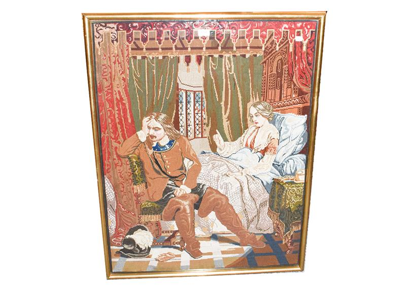 A large Victorian woolwork panel, interior scene and figures, 100cm by 75cm, a print after George - Image 5 of 5
