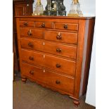 A Victorian mahogany Scottish chest of drawers, comprising three frieze drawers, two short over
