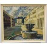 John Bowes RCA, 20th Centurty, A view of Haultney street, Bath and the Holburne museum, signed oil