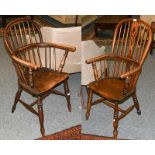 Two 19th century ash and elm Windsor armchairs with an H stretcher