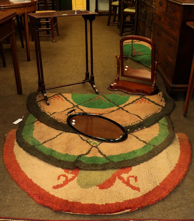 Victorian toilet mirror, occasional table, tea tray and three Art Deco hearth rugs