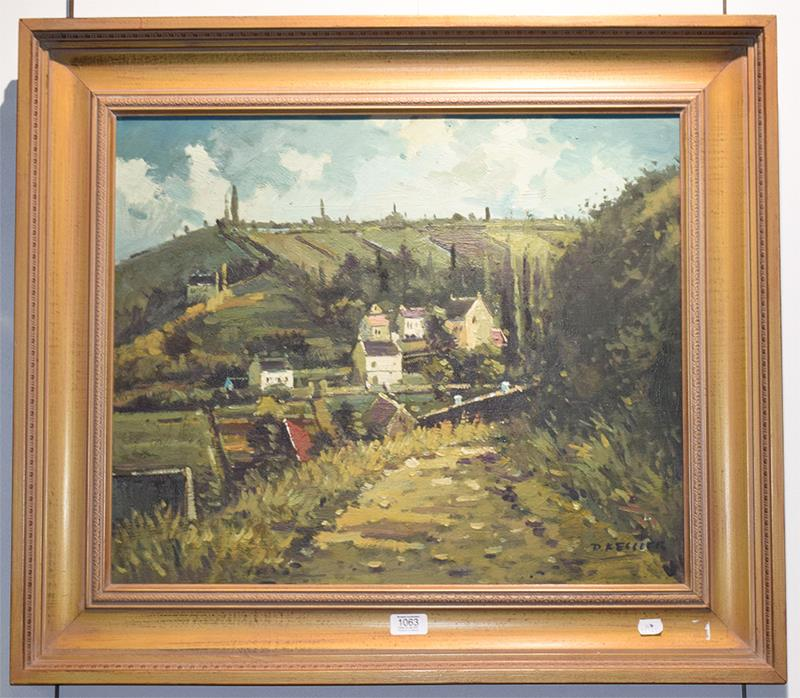 D Kessler (contemporary) European village scene, signed oil on canvas, 50cm by 60cm