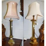 Two similar brass based table lamps of ionic column form, 60cm to th fittings