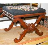 A Victorian mahogany X framed stool with needlepoint seat, 47cm by 43cm by 39cm