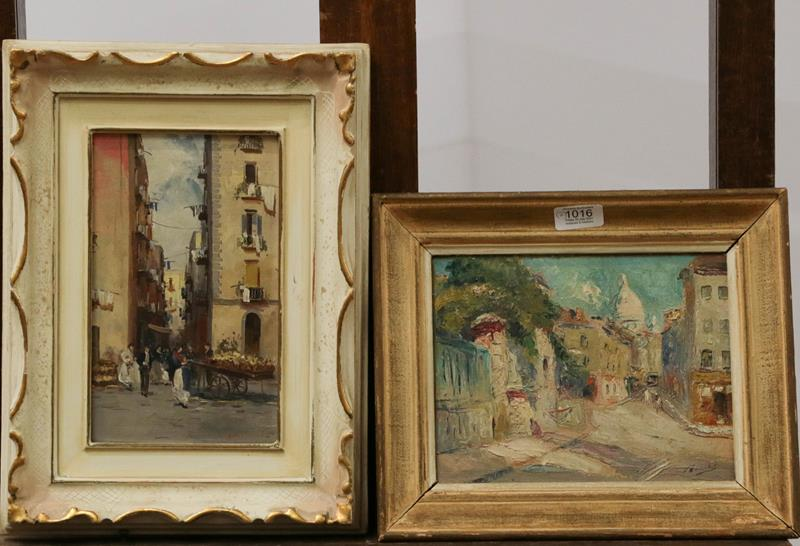 European School (early 20th century) Village view, indistinctly signed, oil on canvas, together with