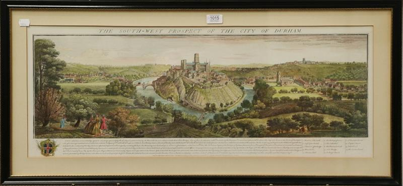 Coloured engraving, 'The South West Prospect of the City of Durham', 31.5cm by 82.5cm; together with - Image 2 of 2