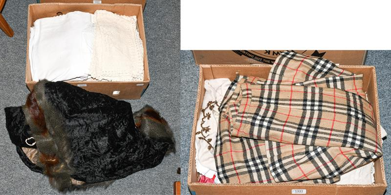 Assorted costume and textiles including two white cotton nightdresses, baby gowns and accessories;