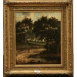 A print, late canvas, 19th century, walk in woodlands 34cm by 29cm and a print by Tom Dodson of