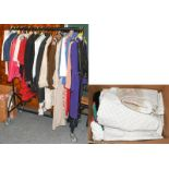 Assorted modern costume comprising fur jacket, faux fur coat, two DKNY denim jackets in white and