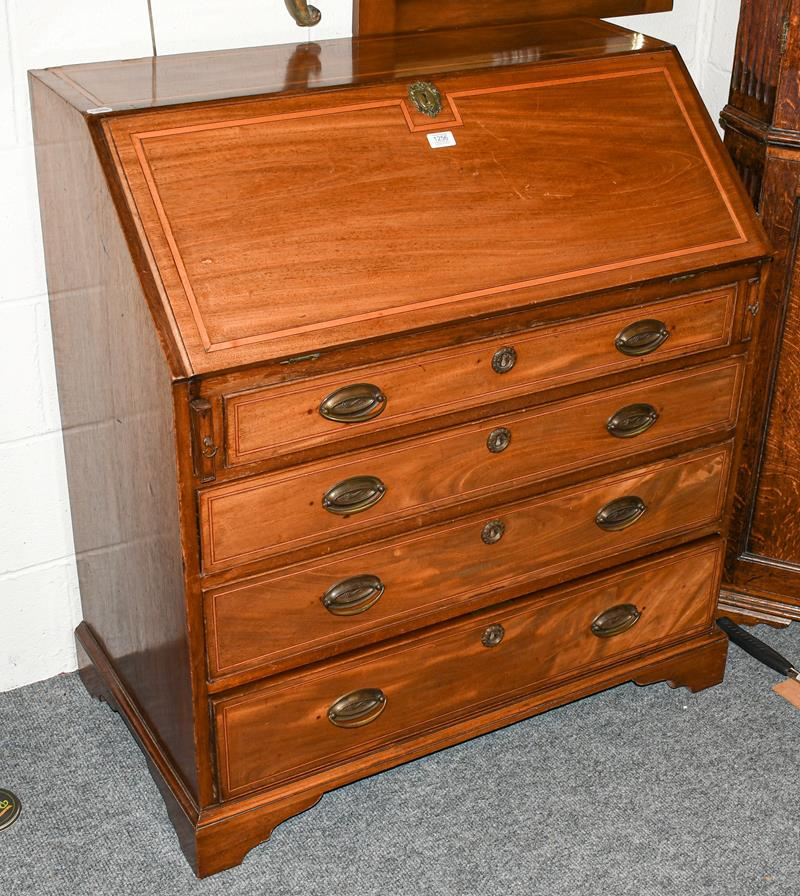 A George III mahogany inlaid bureau, 95cm by 52cm by 102cm