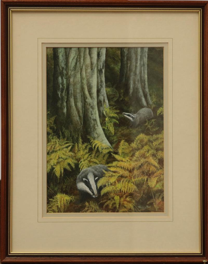 Jeremy Paul (20th century) Fox pursuing pheasant in a woodland, Signed, watercolour, together with a - Image 2 of 2