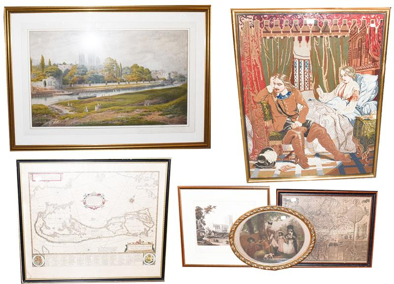 A large Victorian woolwork panel, interior scene and figures, 100cm by 75cm, a print after George