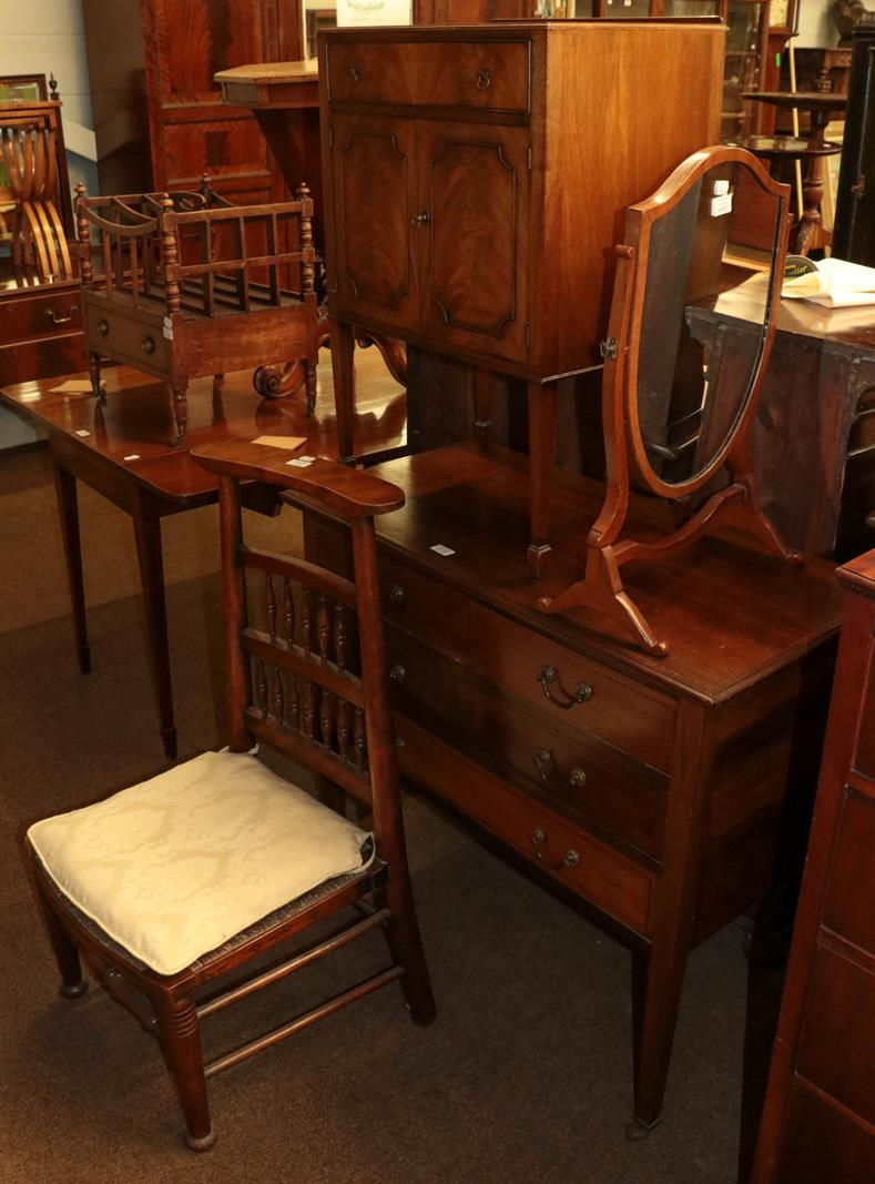An Edwardian mahogany chest of drawers 91cm by 44cm by 80cm, together with a shield-form toilet
