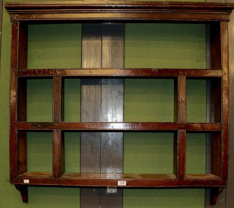 An 18th century Delft oak wall rack, 105cm by 102cm