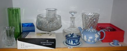 Shelf of assorted china and glass