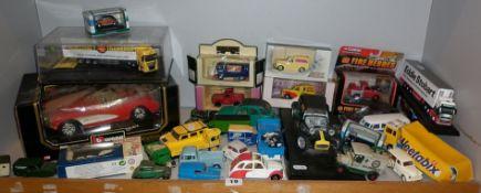 Large shelf of assorted Diecast vehicles including Corgi etc