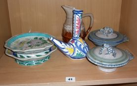 Two Persian style pottery dishes, two pottery lidded bowls with frog handles etc.