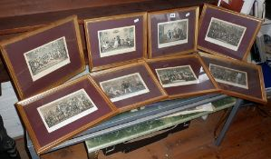 Eight framed coloured engravings in the Tom & Jerry series after Cruickshank
