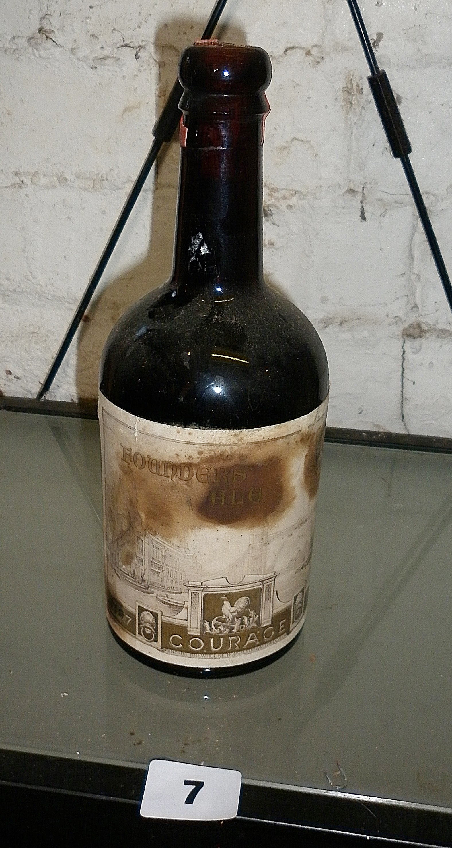 Brown glass bottle of Courage Brewery 1937 Founders Ale (sealed)
