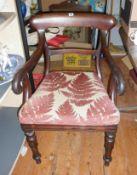19th c. mahogany scroll arm elbow chair