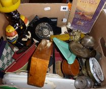 Box containing desk items, door hardware, military shields, brass and other metalware