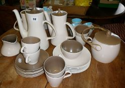1960's Poole pottery Twintone (mushroom and sepia) tea set with biscuit barrel and similar in blue