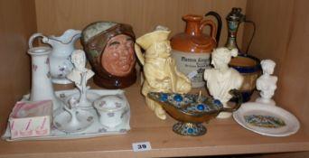 Royal Doulton character jug Friar Tuck, china dressing table set, other china and four small resin