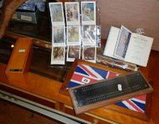 Cribbage board, Dominoes, snooker cue, framed Naval Flag and 'All about Ships and Shipping