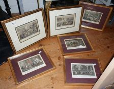 Six framed coloured 19th c. 'Tom and Jerry' coloured engravings after Cruickshank