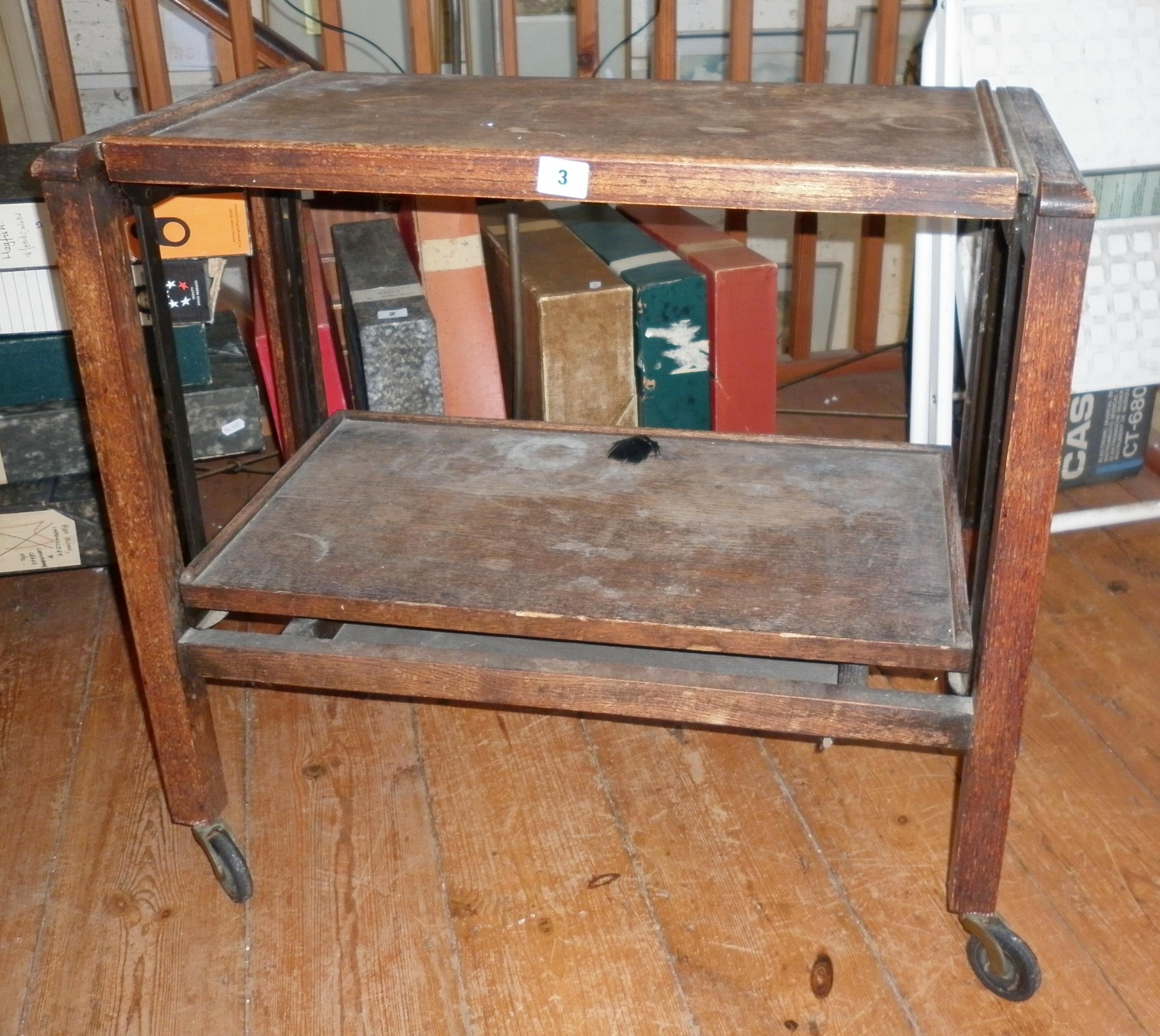 """1930's """"Revertable"""" oak trolley/table buffet"""