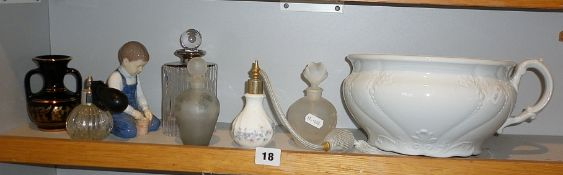 Five vintage scent bottles and a chamber pot etc