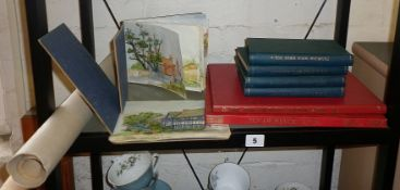 Two watercolour sketch books, 'Familiar Wild Birds' 4 vols, 1901 by W. Swaysland, illustrated by