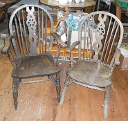 Two wheel-back Windsor carver chairs
