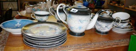 Japanese porcelain dragon, tea set with lithophane cups