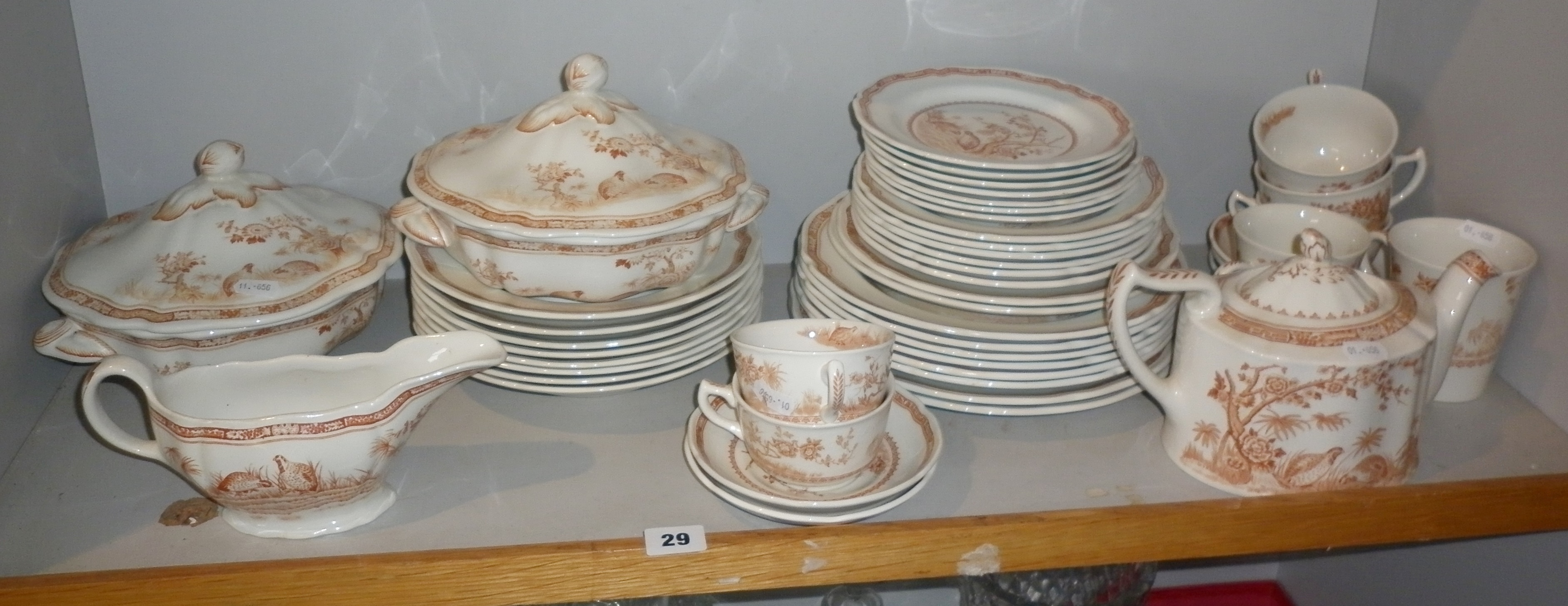 Furnival 'Quail' pattern china dinner and tea service including two tureens, teapots etc (48