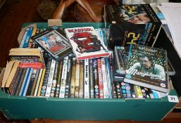 Large quantity of DVD films and a box of assorted books