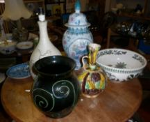 Six various large pottery pieces inc. Kanakalee jugs and a studio pottery lamp base