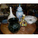 Six various large pottery pieces inc. Kanakalee jugs and a studio pottery lamp base