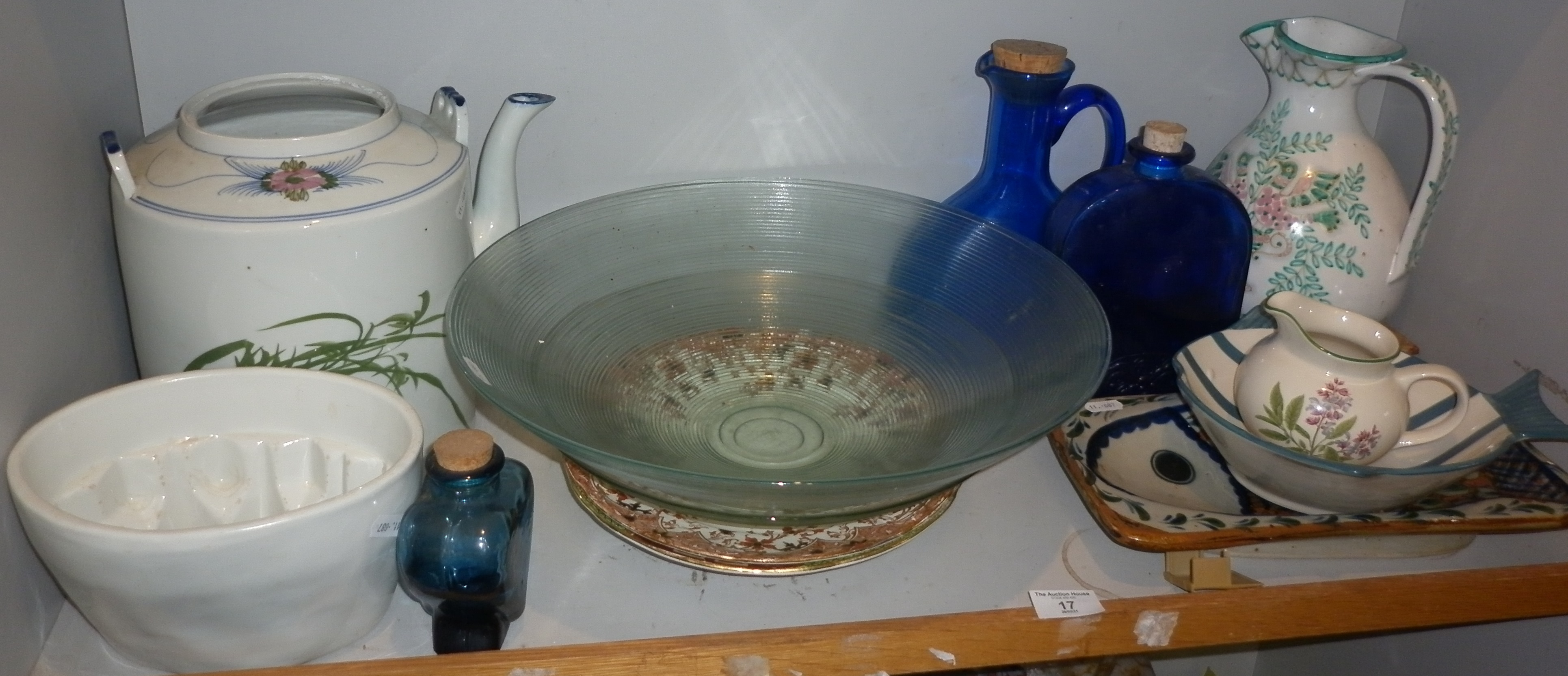 Shelf of assorted pottery and glass, inc. large glass salad bowl etc.
