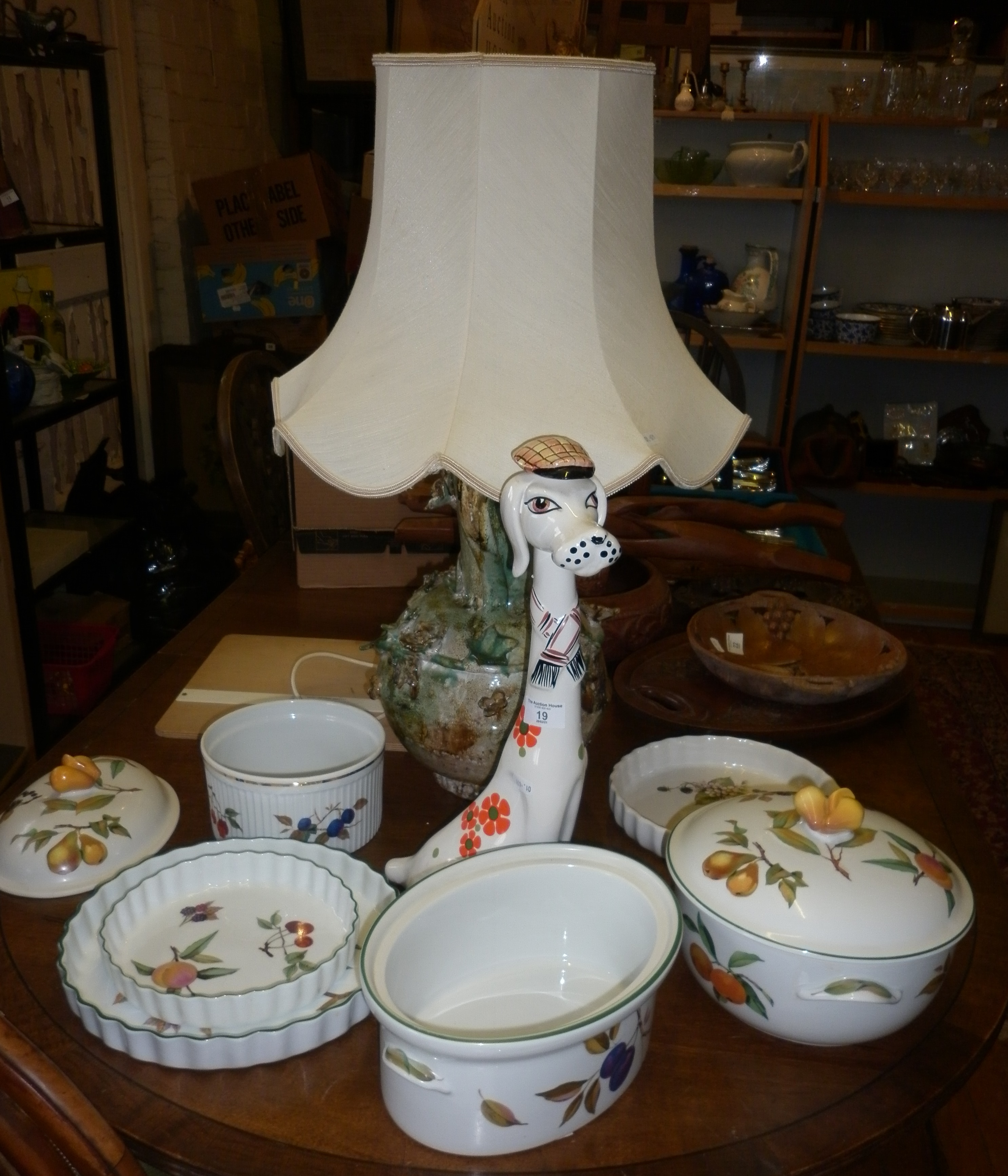1960's Italian retro ceramic dog decanter, Royal Worcester Evesham tureens, flan dishes and a