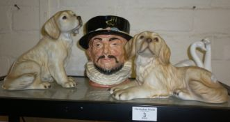 Royal Doulton character jug Beefeater, two Golden Retriever figurines and a Coalport swan group